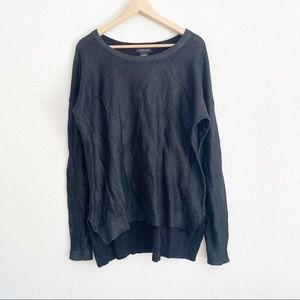 Trouve Black Metallic Over Sized High Low Sweater